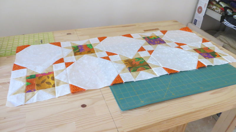 Autumn Stars at two rows pieced